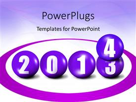 PowerPoint template displaying transition from old year to new year on white background