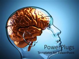 PowerPlugs: PowerPoint template with a transparent 3D human head with an orange colored brain