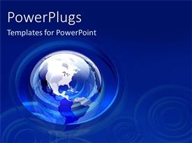 PowerPlugs: PowerPoint template with a transparent blue earth globe on a clear blue background