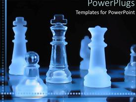 PowerPlugs: PowerPoint template with transparent blue pieces on a chess board on a black background
