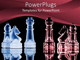 PowerPlugs: PowerPoint template with transparent blue and wine colored chess pieces on a black background