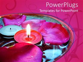 PowerPlugs: PowerPoint template with transparent bowl of water with rose petals floating and votive candles