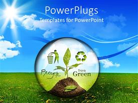 PowerPlugs: PowerPoint template with transparent bubble with a plant and recycle symbol