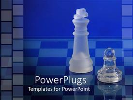 PowerPlugs: PowerPoint template with transparent chess pieces of a queen winning a pawn