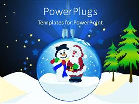 PowerPlugs: PowerPoint template with a transparent Christmas globe with  snow and trees around