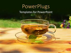PowerPlugs: PowerPoint template with transparent cup of tea and saucer with leaf and flowers in background