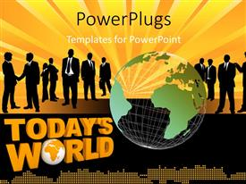 PowerPlugs: PowerPoint template with transparent earth globe with business men shaking hands