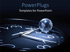 PowerPlugs: PowerPoint template with transparent earth globe sitting on wall clock