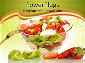 PowerPlugs: PowerPoint template with transparent glass bowl with freshly cut fruits, fruit salad, kiwi, banana, strawberry, healthy diet