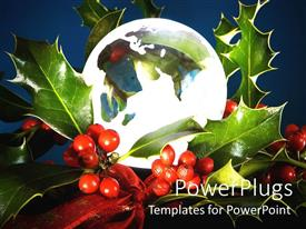 PowerPlugs: PowerPoint template with transparent glass christmas ornament with leaves and some berries