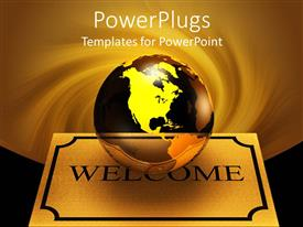 PowerPoint template displaying transparent glass earth / globes on brown colored welcome mat