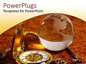 PowerPlugs: PowerPoint template with transparent glass globe beside golden pocket watch