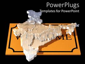 PowerPoint template displaying a transparent glass map of India on a gold slab