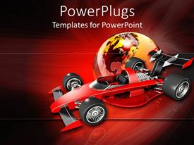 PowerPlugs: PowerPoint template with transparent globe behind red race car