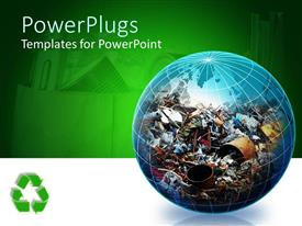 PowerPlugs: PowerPoint template with transparent globe filled with recyclable trash on green background with recycle logo