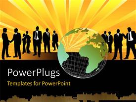 PowerPlugs: PowerPoint template with a transparent globe in front of lots of business men