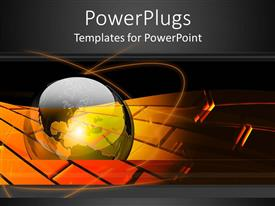 PowerPoint template displaying transparent glossy earth globe on a black and gold background