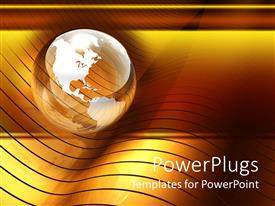 PowerPlugs: PowerPoint template with transparent glossy globe on top of golden wave pattern orange and yellow background