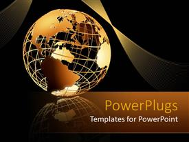PowerPlugs: PowerPoint template with transparent golden 3D globe on mirrored floor with golden waving band on black background