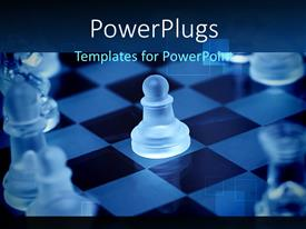 PowerPlugs: PowerPoint template with close-up of transparent chess piece on chess board