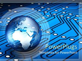 PowerPlugs: PowerPoint template with transparent Planet Earth on a blue circuit pattern background with black lines and white dots