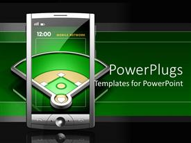PowerPlugs: PowerPoint template with transparent screen touch screen smartphone showing baseball playground on dark green and black background