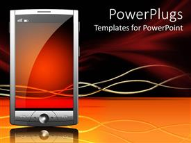 PowerPlugs: PowerPoint template with transparent screen touch screen smartphone on glowing ground with waving lines on dark colored background