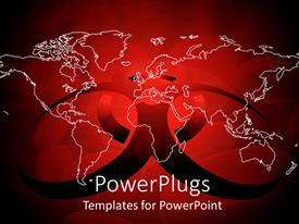 PowerPlugs: PowerPoint template with transparent World map in white margins on dark red virus sign on red background