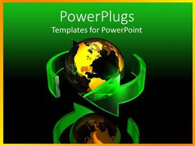 PowerPlugs: PowerPoint template with a transparent yellow earth globe with two green curved arrows around it
