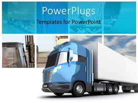 PowerPlugs: PowerPoint template with transport collage with modern truck cargo container
