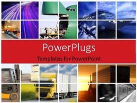 PowerPlugs: PowerPoint template with transport collage with trucks and airplane in action