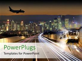 PowerPlugs: PowerPoint template with transportation flying in airplane public transport train subway city lights nightlife