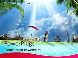 PowerPlugs: PowerPoint template with travel around the world conceptual depiction with international landmarks