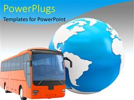 PowerPlugs: PowerPoint template with travel concept with a red bus along with a 3D globe
