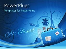 PowerPlugs: PowerPoint template with travel depiction with abstract floral background and travel luggage