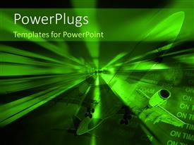 PowerPlugs: PowerPoint template with travel depiction with airplane and flight arrival board in airport