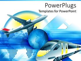 PowerPlugs: PowerPoint template with travel theme with modern train and flying airplane and blue Planet Earth in the center