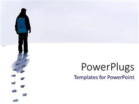 PowerPlugs: PowerPoint template with traveler backpacking in snow white sand destination plan