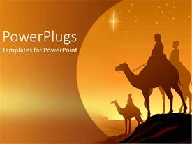PowerPoint template displaying travelers silhouettes on camels during sunset in the desert in middle east or asia on an orange background