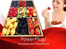 PowerPoint template displaying a tray with different types of fruits and a smiling lady