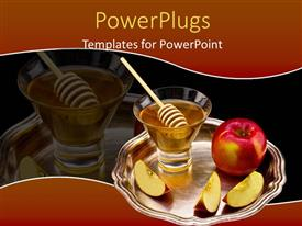 PowerPlugs: PowerPoint template with a tray of a honey cup and red cut apples