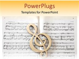 PowerPlugs: PowerPoint template with treble clef in front of sheet music