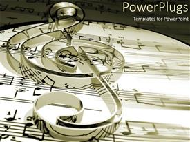 PowerPlugs: PowerPoint template with treble clef on music sheets and notes in black and white