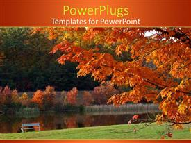 PowerPlugs: PowerPoint template with a tree in the fall season with water in the background