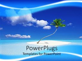 PowerPoint template displaying a tree on an island surrounded by crystal clear sea water