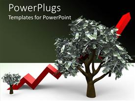 PowerPlugs: PowerPoint template with a tree made of scrap with a growth sign