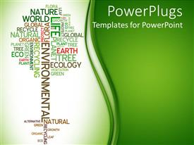 PowerPoint template displaying tree made of words related to ecology and environment on light and dark green background