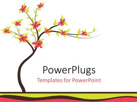 PowerPoint template displaying a tree with many flowers and white background
