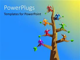 PowerPlugs: PowerPoint template with a tree with a number of figure son the branches and bluish background