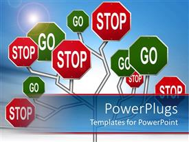 PowerPlugs: PowerPoint template with tree of red stop and green go signs